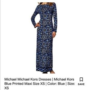 Michael Kors navy blue and white floral long dress
